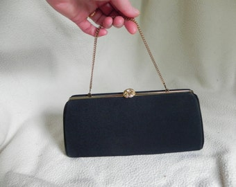 1950's Lovely Harry Levine Black Fabric Clutch Formal Dress Purse with Rhinestone Clasp
