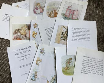 15 x Beatrix Potter book pages from vintage books. Scrapbooking, bunting, junk journal, book pages, smash book