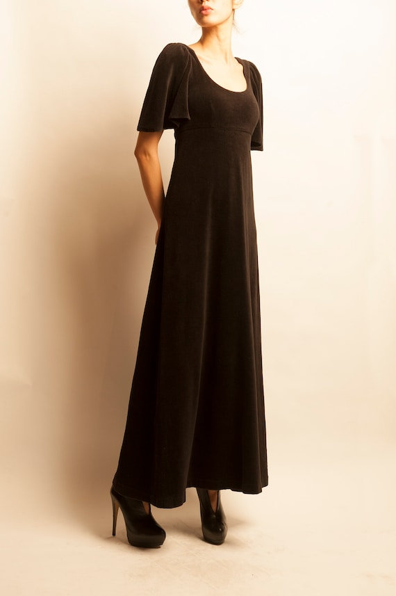 BIBA 1970's dark brown high waist long day dress