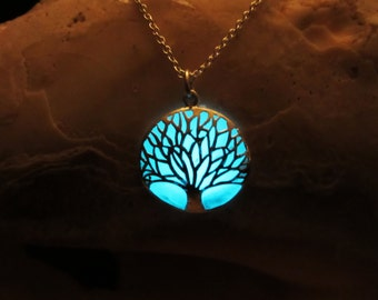 Tree silver necklace glow in the dark