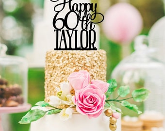 60th Birthday Cake Topper - Happy 60th Cake Topper Personalized with Name - Any Age Needed