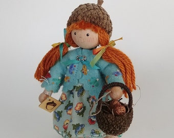 Acorn-Capped Bendy Doll with Acorn Basket filled with Handmade Acorns