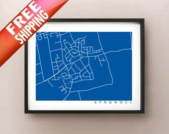 Sprundel Map Print - Netherlands Poster