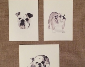 Set of 6 or 12 Handmade Blank Bulldog Print Note Cards