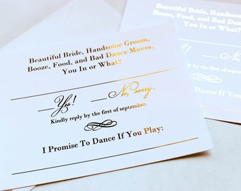 Gold Foil Wedding Invitation RSVP Song Request Cards //Response Cards // Metallic Gold Foil or Silver Foil