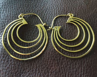 Indian Brass Pendant Earrings with Concentric Design