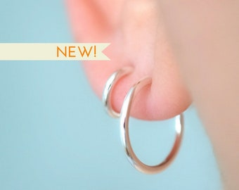 Hoop earrings in sterling silver nickel free multi piercings stud earrings minimalist earrings dainty studs circle