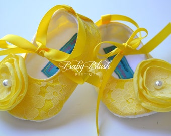Yellow Lace Vintage Baby Shoes Ballerina Slippers