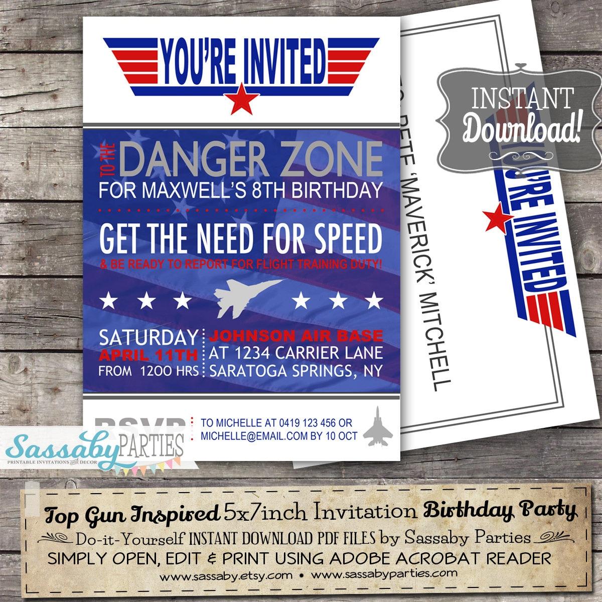 top gun inspired fighter jet pilot invitation instant
