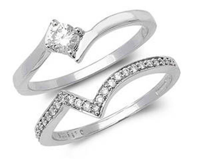 Diamond Wedding Ring Crossover Diamond Set