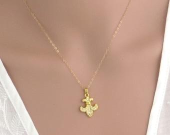 Fleur-de-lis gold necklace , gold flower necklace with Cubic zirkonia , CZ gold necklace