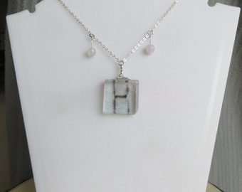 double rectangle magnetic field necklace with clear bead dangles