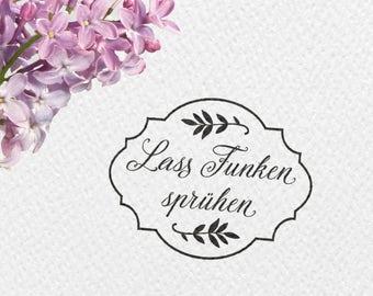 Lass Funken sprühen Hochzeitsstempel, 50x40mm, Rahmen, Blätter, Zweige, Hochzeit, Stempel, Wunderkerzen, Gastgeschenk, GASTST, HSMR1