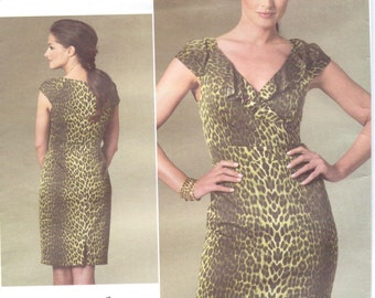 Kay Unger Womens Fitted Summer Dress OOP Vogue Sewing Pattern V1206 Size 6 8 10 12 Bust 30 1/2 to 34 UnCut Vogue American Designer