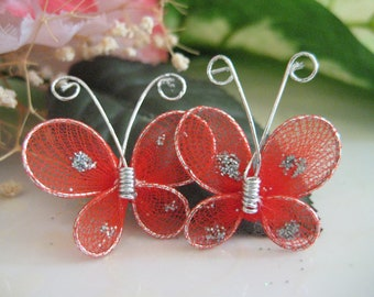 Red Butterfly Embellishments for Crafting,  Party Favors, Wedding Accessories, Table Scatters - 1 inch / 25 mm, 24 or 50 pieces
