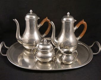 French Pewter / Etain du Manoir Coffee Set with Matching Tray - 20th Century, France