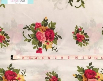 Vintage Red and Green Floral Pillowcase