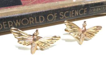 Raw Brass Moth Cuff Links - Butterfly Cufflinks - Wedding Cuff Links - Bridal Party - Luna Moth Lunar Moth Spotted Moth