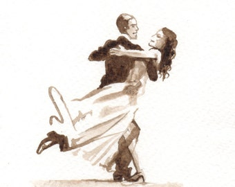 Original love card > Fred Astaire and Rita Hayworth - Unique Sketch to frame - Ink walnut stain Sepia Dance - Musical - black and White