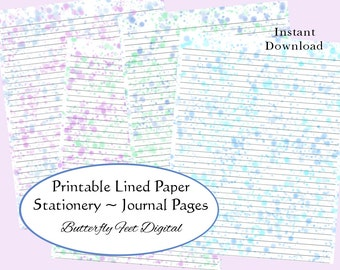 Printable Lined Paper, Art Journal Pages, Stationery, Watercolor Splash Theme, Instant Digital Download, Letter size, 8.5 x 11 inch JPG