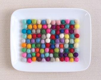 Felt Balls, Extra Small// Felt PomPoms // Pom Poms, Necklace Crafts, Wool Felt Balls, Felted Balls, Tiny Felt Balls, Coaster Craft