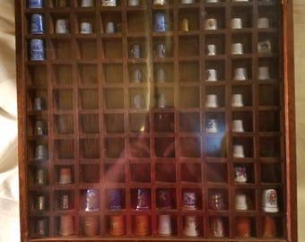 Vintage 100 thimble display case  w/63 thimbles