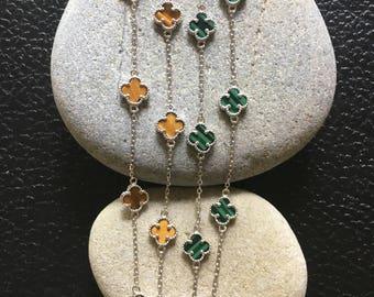 Clover Necklace, 4 Leaf Clover Necklace, Lucky Clover Necklace, Clover Jewelry, Multi Charm Necklace