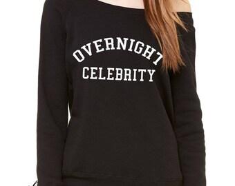 Overnight Celebrity Slouchy Off Shoulder Oversized Sweatshirt