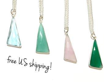 Silver Gemstone Pendant Necklace, Gemstone Necklace, Silver Pendant, Natural Gemstone Pendant Necklace DreamCuff Free Shipping Jewelry