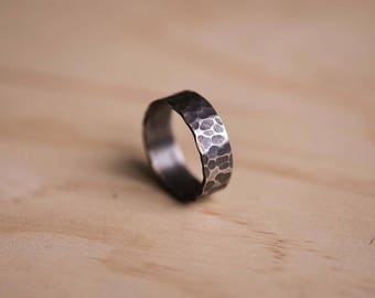 Oxidised & Hammered Stainless Steel Ring with a Brushed Finish
