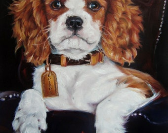 "Pet Portrait, Oil Painting of Your Dog by puci, 12x16"", Cavalier King Charles Spaniel PIPPA"