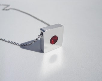 Minimalist Necklace – Contemporary Jewelry – Red Necklace – Geometric Pendant