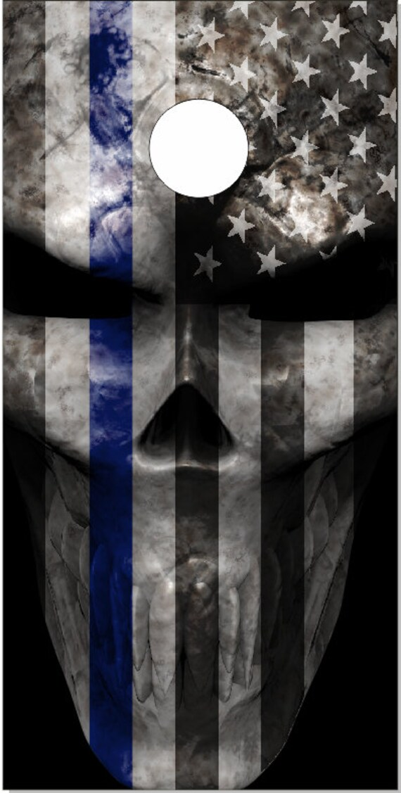 Police Flag Skull Blue Line Cornhole Wrap Bag Toss Decal Baggo