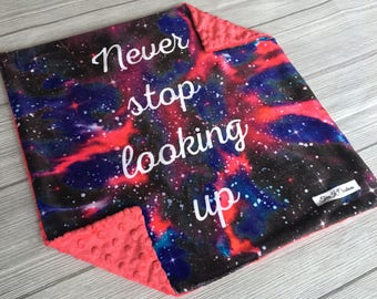 Galaxy Lovey, Minky Lovey, Never Stop Looking Up, Baby Girl Lovey, Lovey Blanket, Gifts for Baby, Car Seat Lovey, Minky Lovies, Minky Lovie
