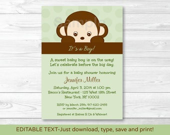 Cute Monkey Baby Shower Invitation / Monkey Baby Shower Invite / Jungle Animal / Baby Boy Shower / INSTANT DOWNLOAD Editable PDF A403