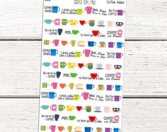 Coffee Planner Stickers, Coffee Stickers, Coffee Addict, Coffee Icons, Gilmore Girls Stickers