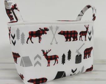 Storage Fabric Organizer Bin Container Basket - Bear Moose Deer Fabric - Red Black Buffalo Checks Plaid Woodland Trees Camping Arrows