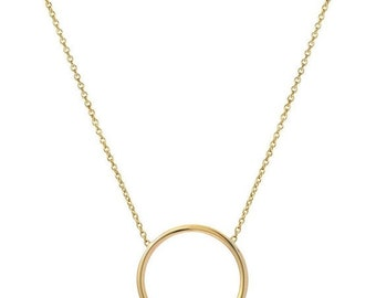 MOTHERS DAY SALE 14k gold circle necklace