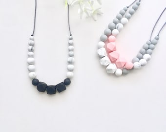The Stella Textured Silicone Teething Necklace for Mom | Silicone Nursing Necklace | Babywearing Necklace | Chew Beads | Sensory Necklace