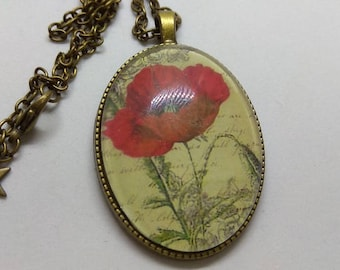 vintage poppy cameo cabochon necklace