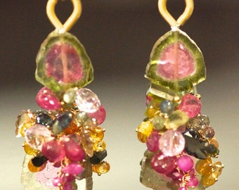 18K solid yellow gold Tourmaline , sapphire , Pink amethyst earring