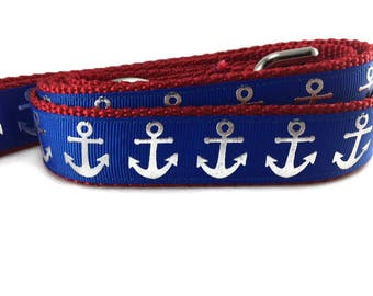 Dog Leash, Blue Foil Anchors, 1 inch wide, 1 foot, 4 foot, or 6 foot