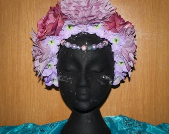 Pink, purple floral headdress, headpiece with beads and artificial flowers, roses, fantasy fairytale headband