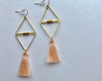Double Triangle Losange Brass + Pink Peach Tassels Pendant Earrings
