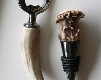 Beer And Wine Set - Bottle Opener - Wine Bottle Stopper - Antler Bottle Opener - Antler Wine Stop - Real Antler - Genuine - His And Hers