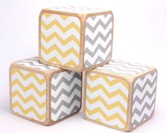 Yellow and Grey Chevron - Nursery Room Decor - Wooden Baby Blocks - Baby Shower Gift - Baby Boy - Baby Girl - 2 Inch Blocks