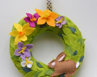 Spring wreath, handmade, felt, Easter, Flowers, Rabbit