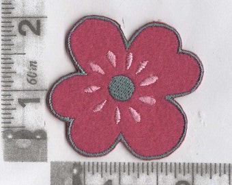 Red and pink large flower iron on patch