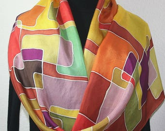 Silk Scarf Handpainted. Golden Terracotta, Copper, Olive Handmade Silk Shawl FOREST PUZZLE, in Several SIZES. Birthday Gift Mother's Day.