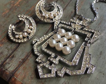Early Vendome Demi Parure Featuring Art Deco Influenced Forms, Pave Rhinestones, and Pearl Accents